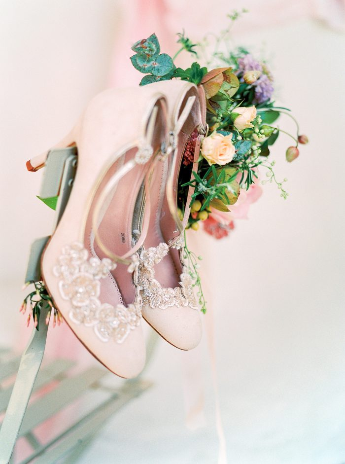 Emmy London Pink Floral Bridal Shoes