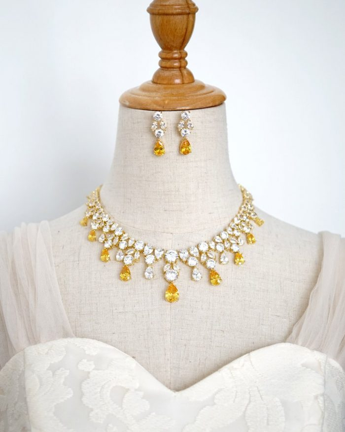 Yellow Victorian Inspired Bridal Necklace & Earrings