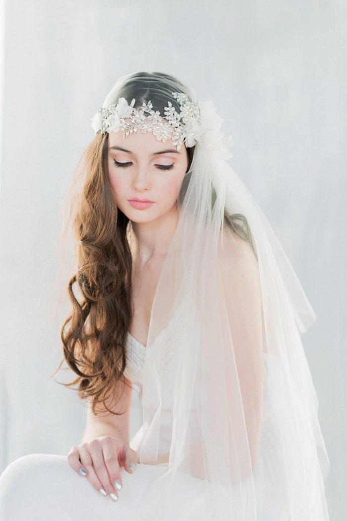 Antoinette Beaded Lace Juliet Cap Veil
