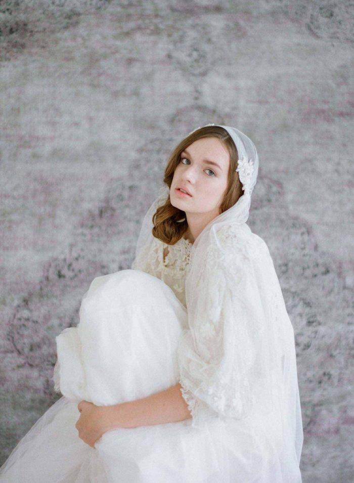 Bead & Lace Embellished  Juliet Cap Veil