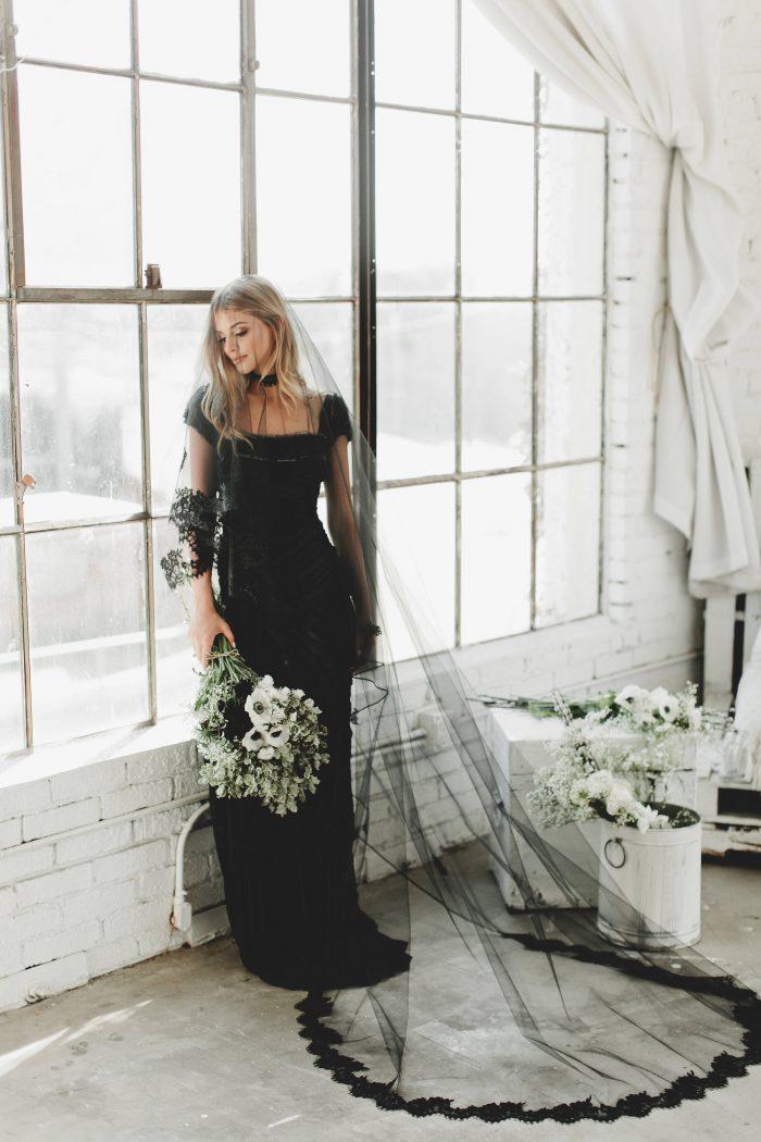 Black Lace Bridal Veil