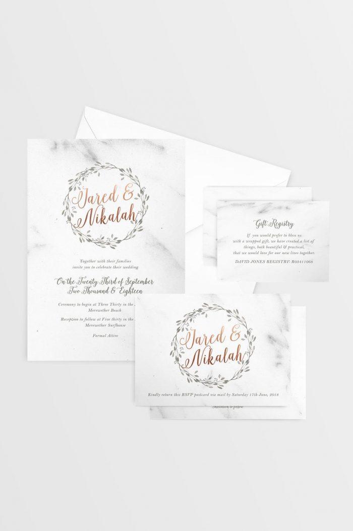 Marble & Rose Gold Wedding Invitation